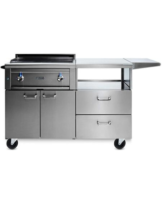 L30AG M LP Professional Series Asado Liquid Propane Grill on Mobile Kitchen Cart with 2 ProSear2 Burners LED Knob Light and Stainless Steel - lynx
