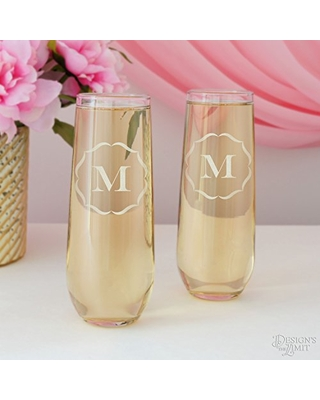 Personalized Stemless Champagne Flutes Two Flutes - design's the limit