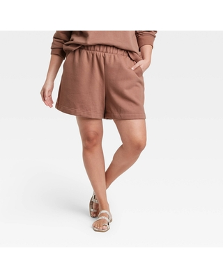 Women's Plus Size High Rise All Day Fleece Pull On Shorts - a new day