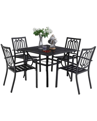 5pc Metal Indoor Outdoor Square Dining Table with Patterned Arm Chairs & Umbrella Hole - captiva designs