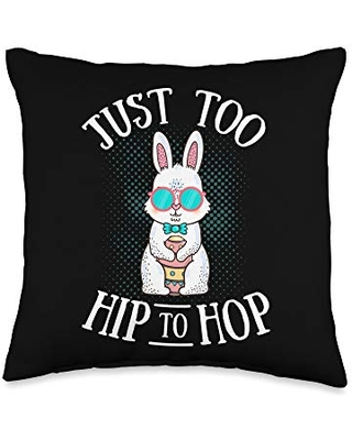 Bunny Just Too Hip to Hop Easter Egg Hunt Lovers Throw Pillow 16x16 - easter bunny merch co