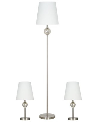 Transitional Brushed Nickel 3 Piece Table and Floor Lamp Set LED Bulbs Included - cresswell lighting