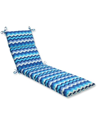 Outdoor Indoor Panama Wave Azure Chaise Lounge Cushion 1 Count - pillow perfect