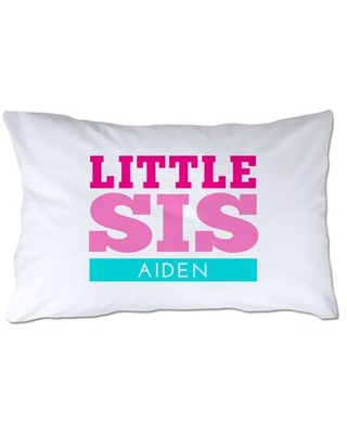 Personalized Little Sister Pillow Case - 4 wooden shoes