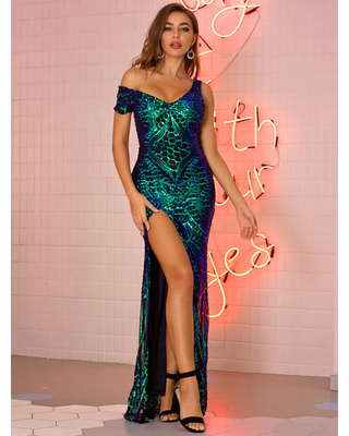 Evening Dress Sleeveless Polyester Split Sequins Gowns Long Party Dress Bodycon Pageant Dress - milanoo