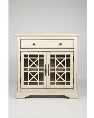 BM181497 Craftman Series 32 Inch Wooden Accent Cabinet with Fretwork Glass Front - benzara