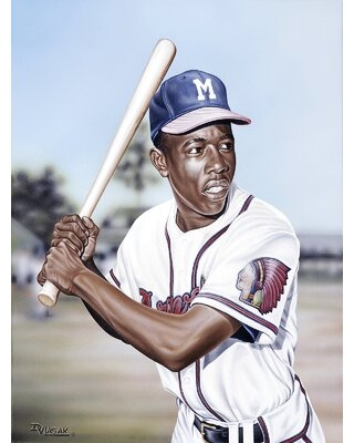 Hank Aaron on Deck Artwork by Darryl Vlasak Painting Print on Wrapped Canvas - buy art for less