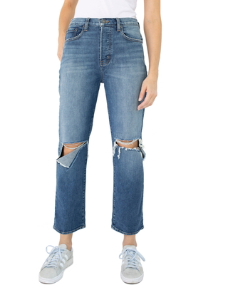 Ripped High Waist Straight Leg Jeans at Nordstrom - modern american