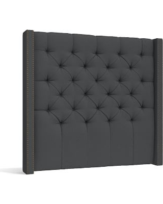 Harper Upholstered Tufted Tall Headboard with Bronze Nailheads California King Premium Performance Basketweave Charcoal - undefined