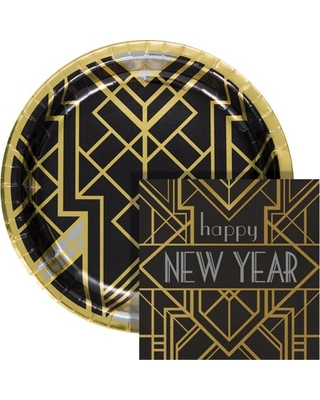 Art Deco New Year Buffet Kit Serves 24 Guests - creative converting