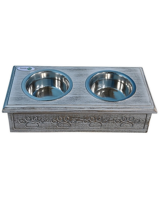 Wooden Paws Double Diner Pet Feeder With Bowls - iconic pet
