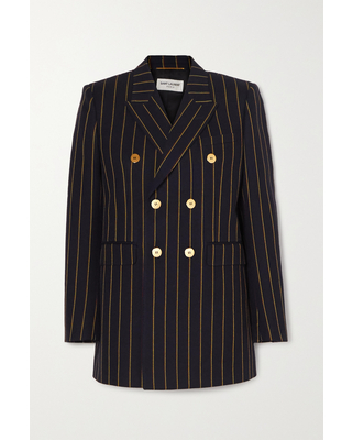 Double breasted Pinstriped Wool twill Blazer - saint laurent