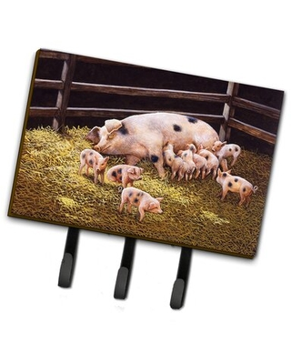 Pigs Piglets at Dinner Time Wall Key Organizer with Key Hooks - caroline's treasures