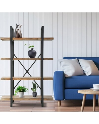 Michel Wood Bookshelf Storage Industrial Bookcase Freestanding Modern Bookshelf Unit With Metal Frame For Home Office Living Room 4 Tier - industrial lodge home