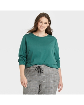Women's Plus Size Long Sleeve Supima T Shirt - a new day