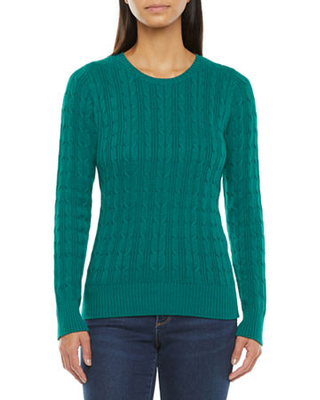 St John's Bay Womens Cable Crew Neck Long Sleeve Pullover Sweater - st. john`s bay