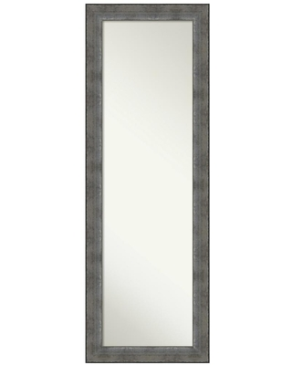 Amanti Art Forged Pewter 18 in. x 52 in. Modern Rectangle Full Length Framed On the Door Mirror