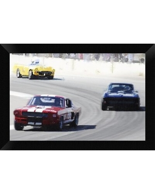 Mustang and Corvette Racing Watercolor' Framed Graphic Art Print on Canvas - naxart