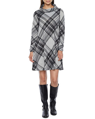 Long Sleeve Plaid Shift Dress with Removable Scarf - r & k originals