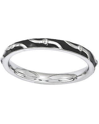 Personally Stackable Enamel Striped Sterling Silver Ring - fine jewelry