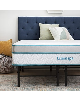 12 Inch Memory Foam and Innerspring Hybrid Mattress with 14 Inch Folding Platform Bed Frame Twin - linenspa