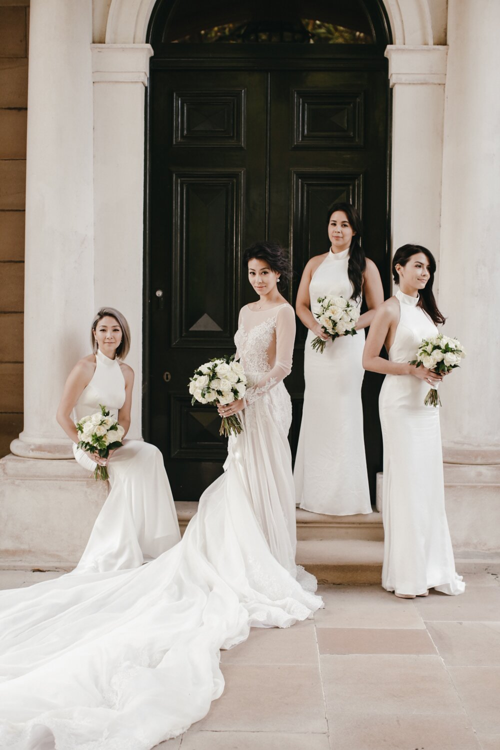26 Chic Bridal Parties Wearing All White Dresses Martha Stewart