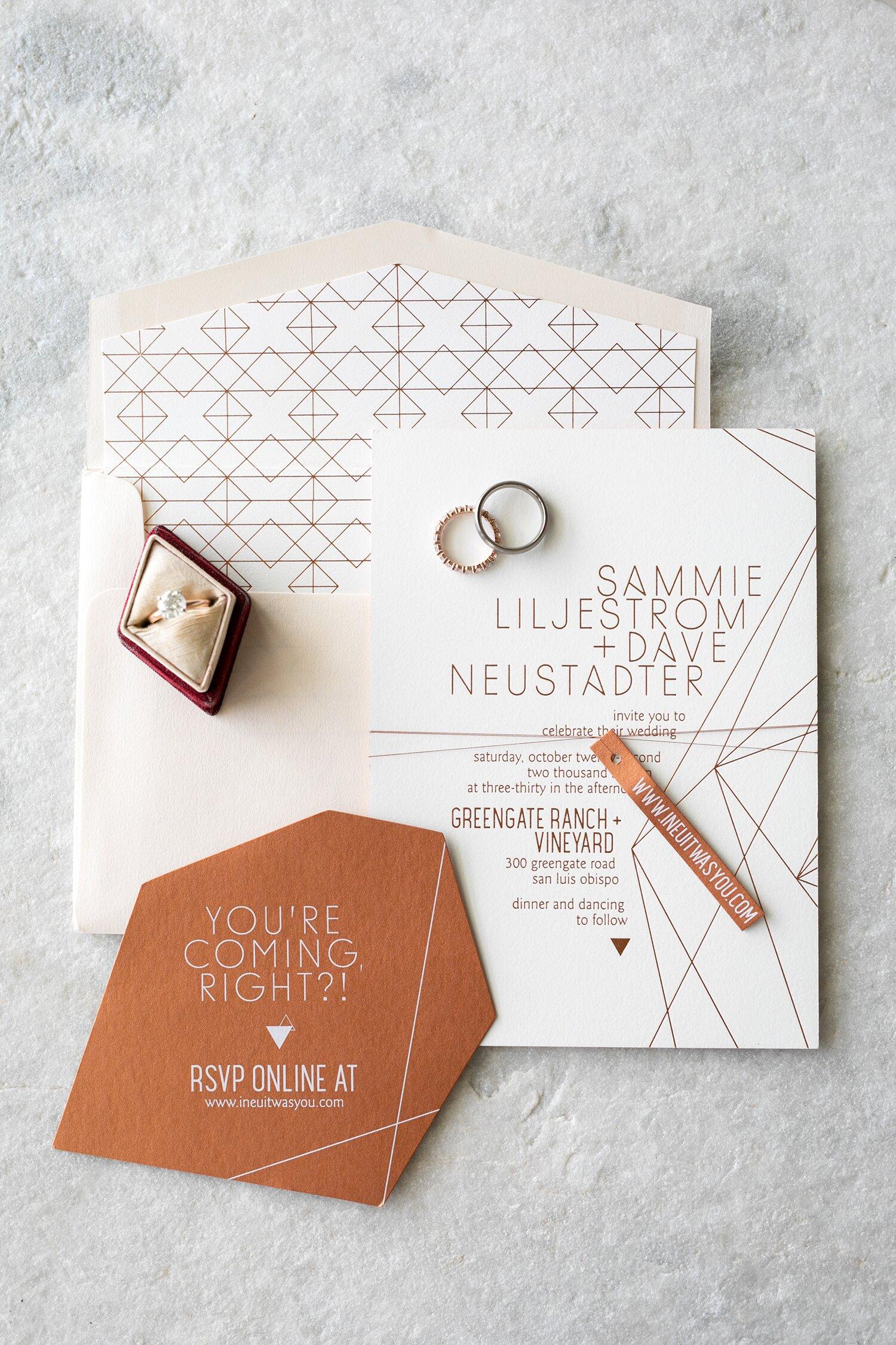 28 Geometric Wedding Invitations with an Edge | Martha Stewart ...