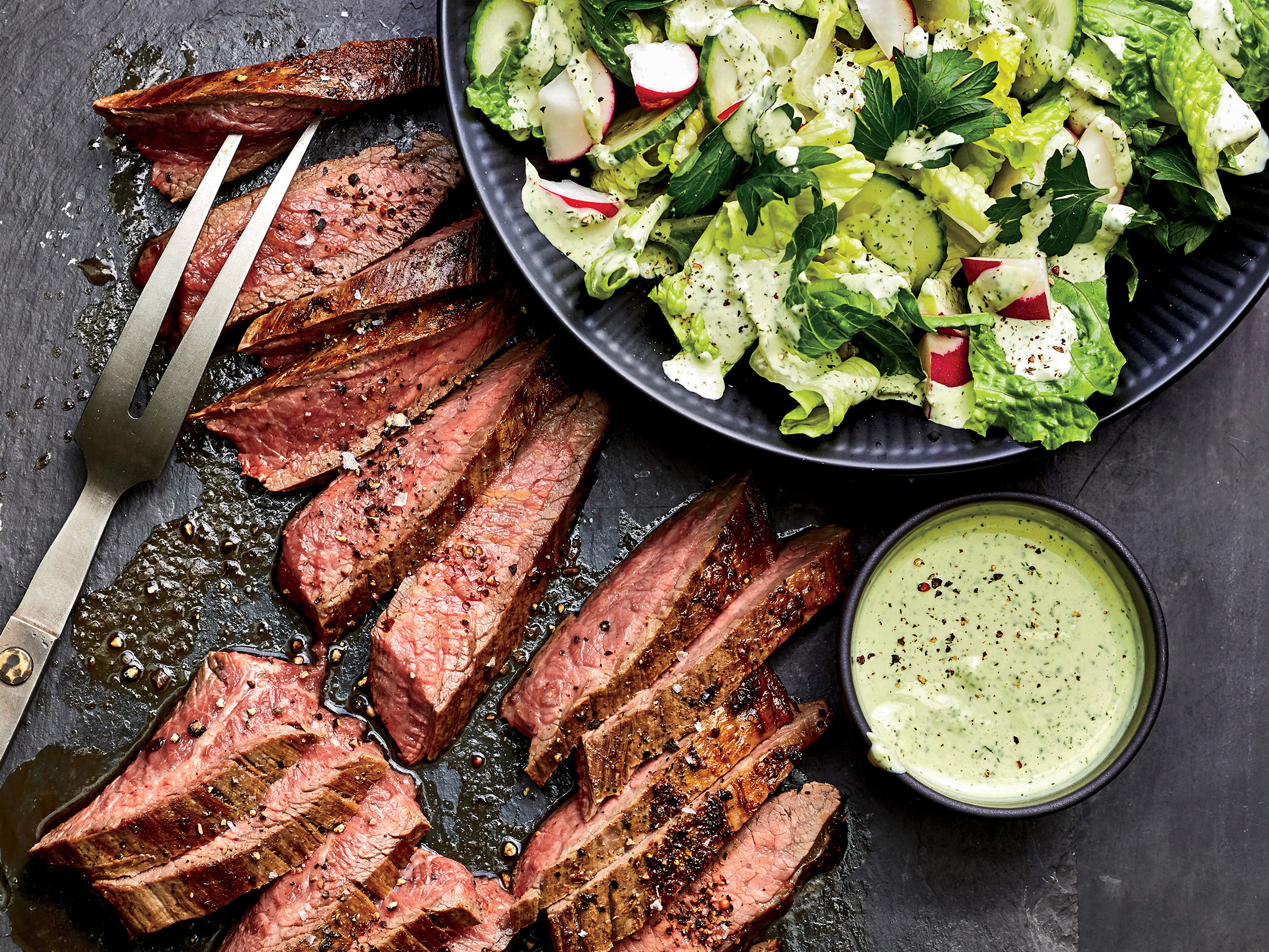 Flank Steak and Vegetables with Green Goddess Sauce