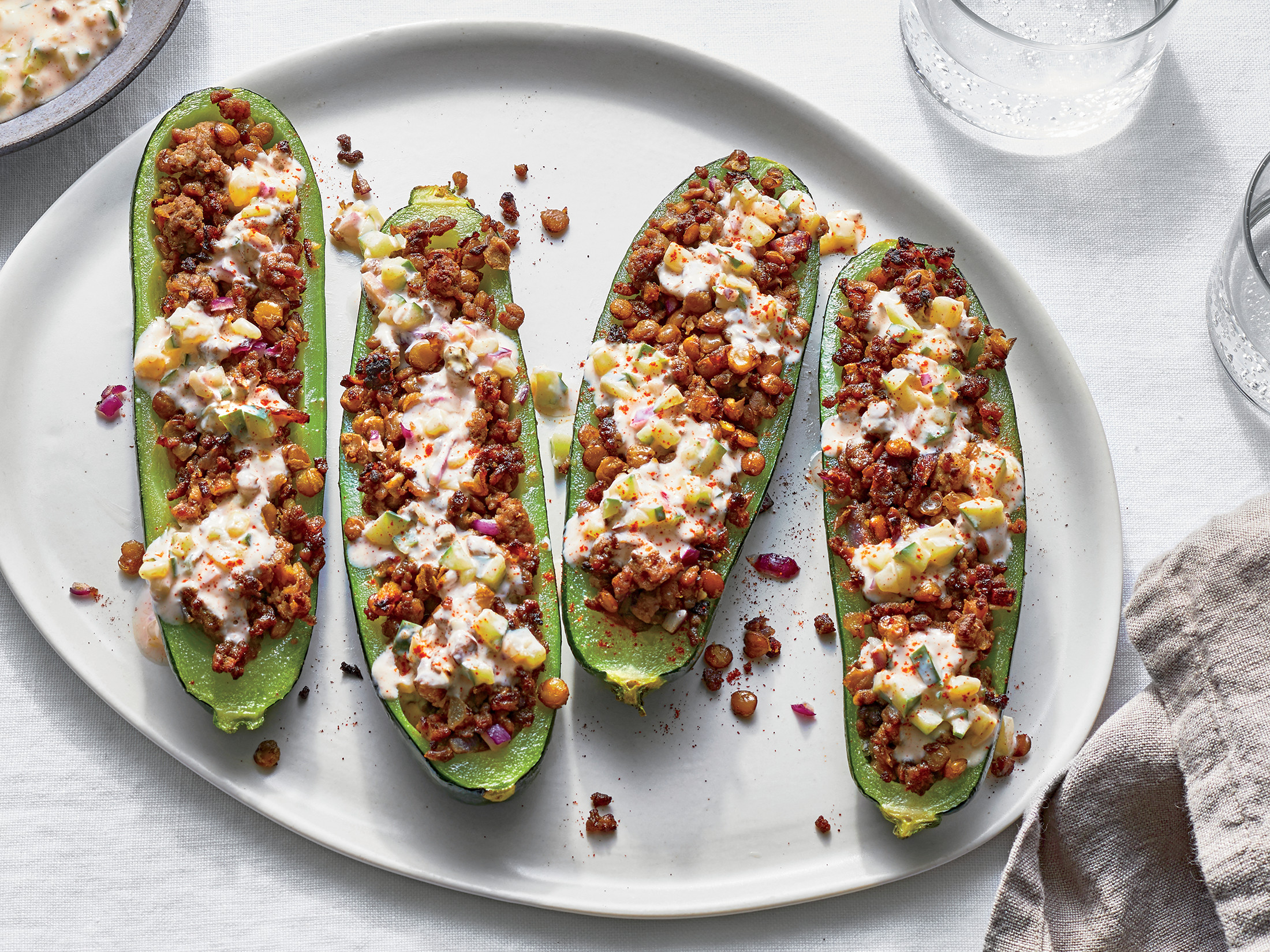 Zucchini Stuffed With Lamb and Lentils