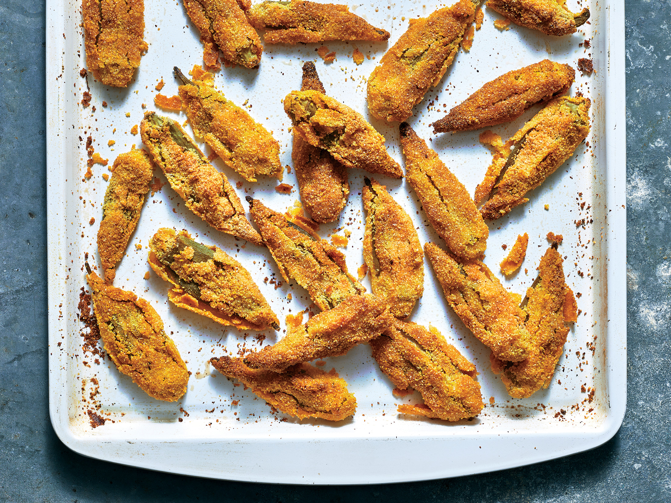 Oven-Fried Smashed Okra
