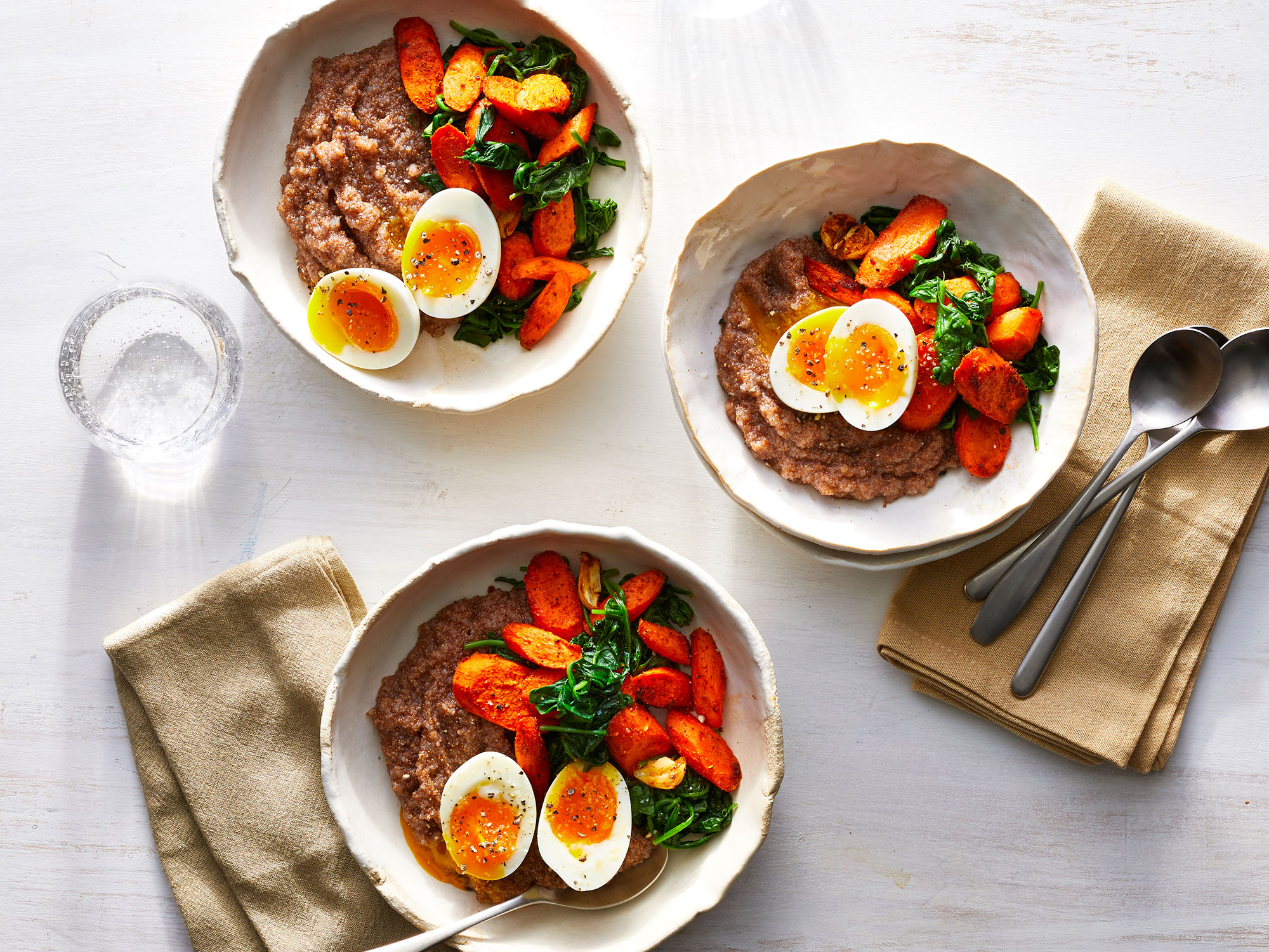 """Teff """"Polenta"""" Bowls With Soft Eggs and Greens"""