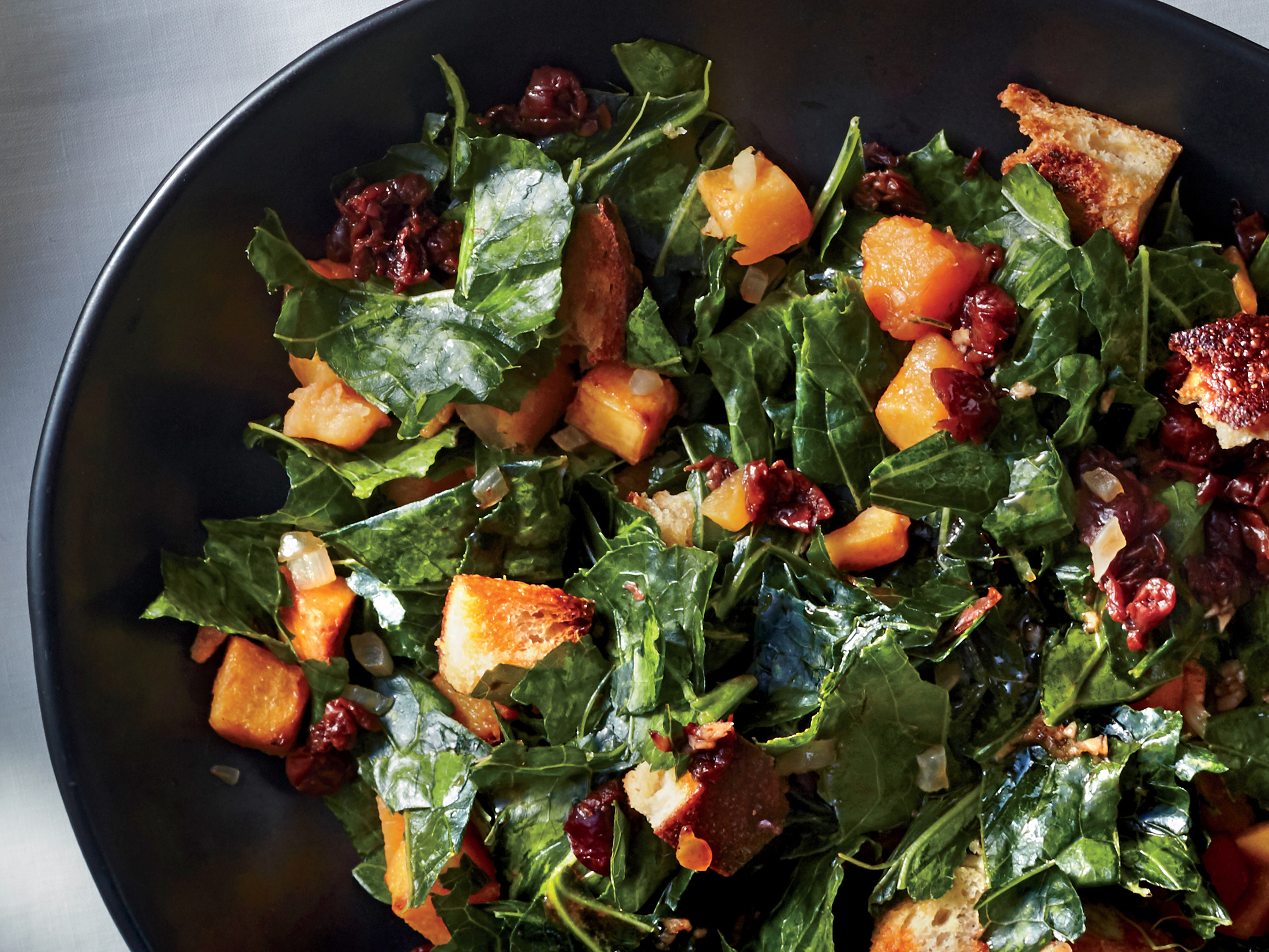 Collard Greens Panzanella with Hot Sauce Vinaigrette