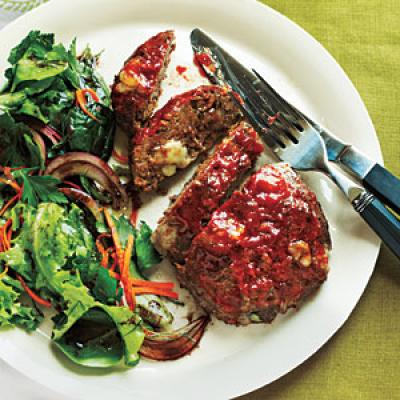 Cheesy Meatloaf Minis with a simple Arugula Salad with Lemon Dressing