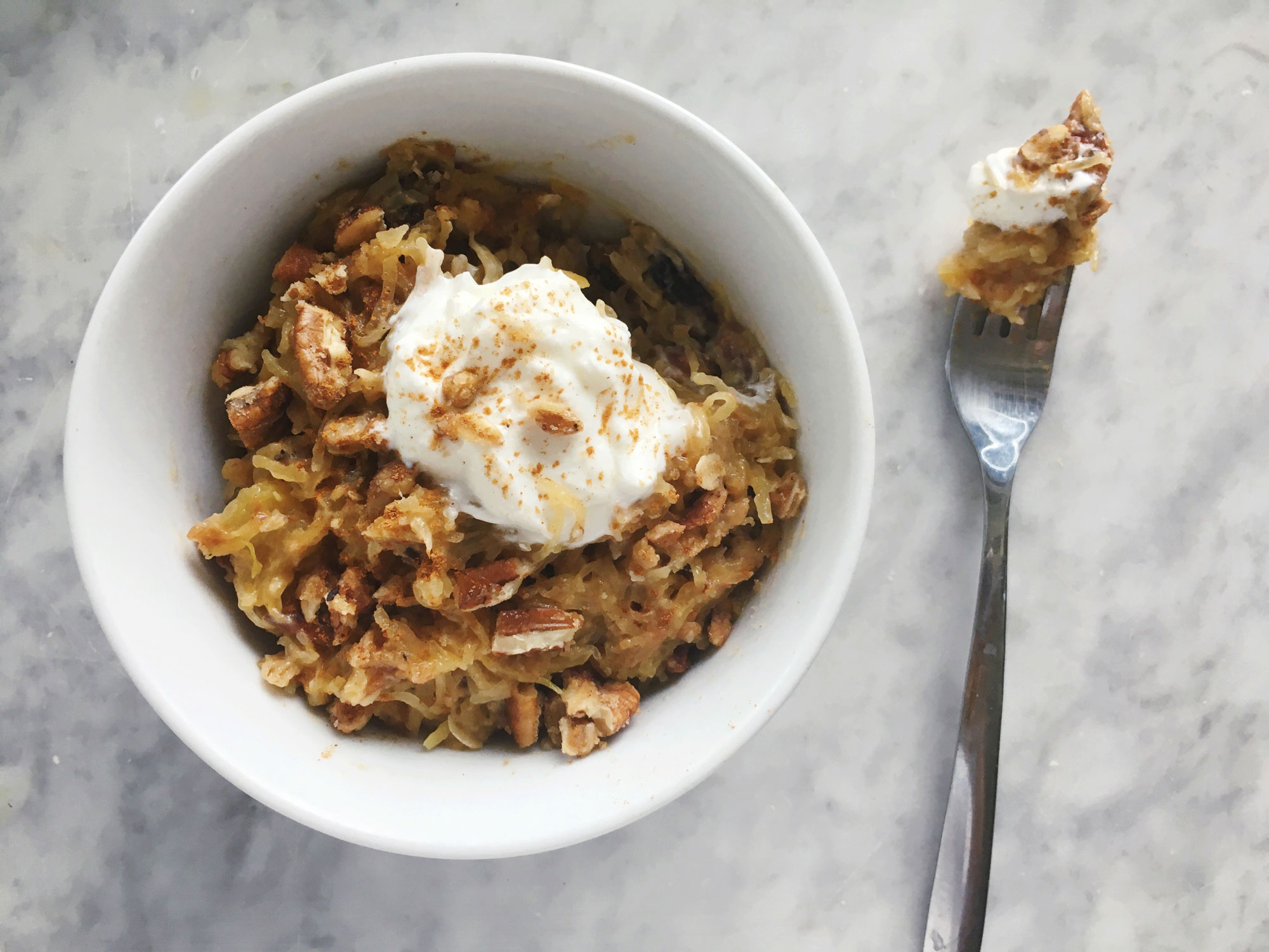 Sweet Spaghetti Squash Noodles with Toasted Pecan Crumble