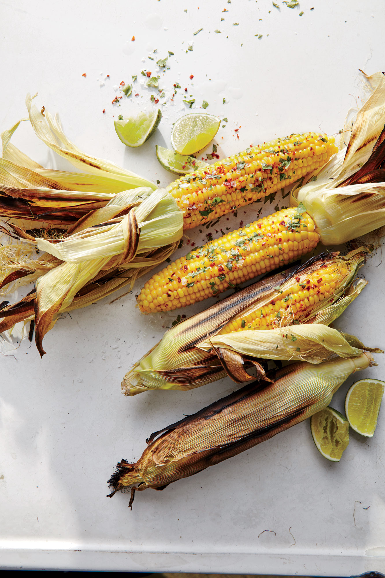 Grill-Steamed Corn with Cilantro and Chile Flakes