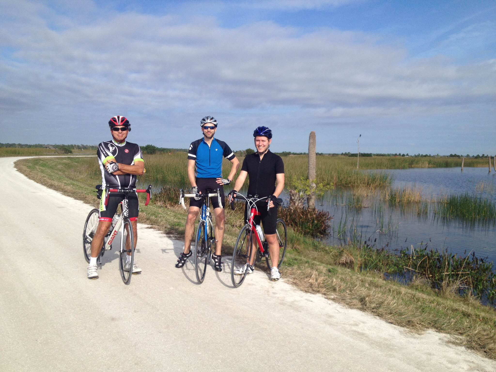 That's me in the middle biking with my dad and a friend in Florida.