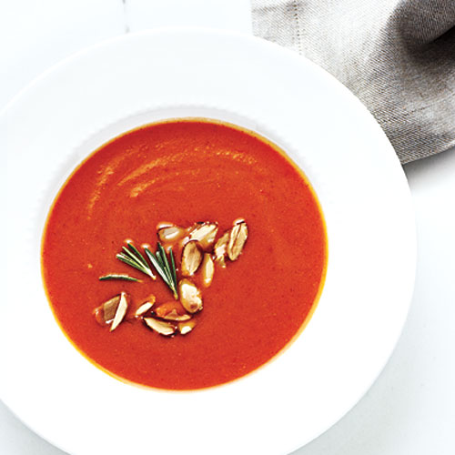 Creamy Pumpkin-Red Pepper Soup: This soup can be topped with a variety of things: We love Parmigiano-Reggiano and rosemary, but savory sprinkles like chopped smoked almonds or toasted pecans would be lovely. This tastes even better the next day...or the day after.
