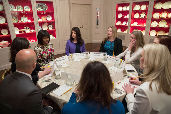 "First Lady Michelle Obama participates in a ""Let's Move!"" recipe roundtable in the China Room of the White House, Feb. 19, 2013. (Official White House Photo by Lawrence Jackson)*"