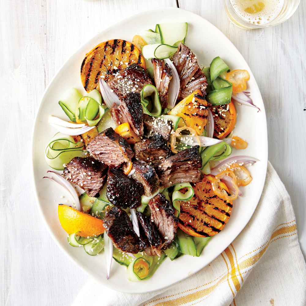 Short Ribs with Cucumber and Orange Salad: The pull-apart meat is offset by bits of delightfully charred, crispy crust. Grilled orange peel will change your life.