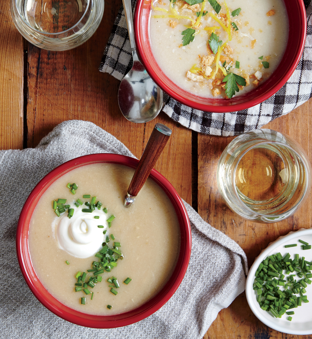 Pure creamy comfort: garlic soup (top) and celery root soup