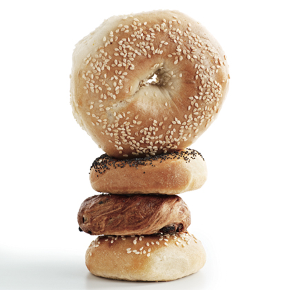 OY VEY! This blimped-out bagel from a national chain weighs 5 ounces, double the size of those from artisan bakers (pictured below it) and five times the recommended 1-ounce serving size for breads. It has 350 calories, before cream cheese or lox.