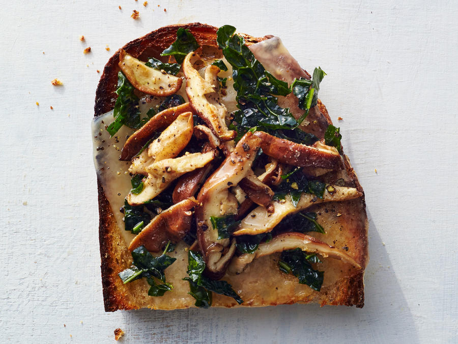 Kale, Swiss, and Shiitake Toast