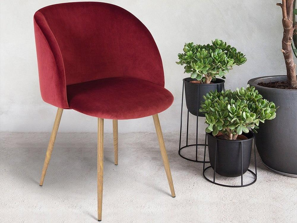 1707w velvet dining chair red