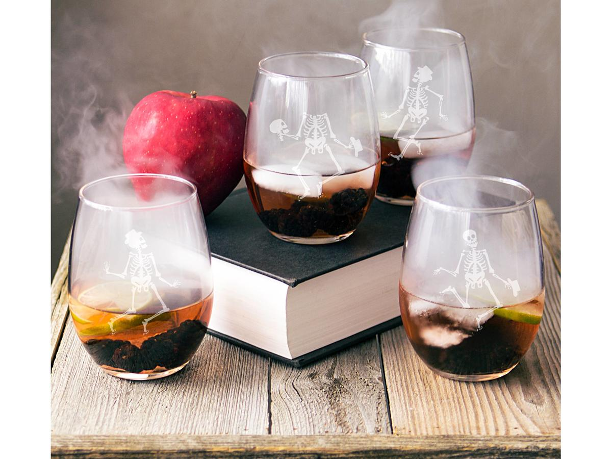 1708w- Skeleton Stemless Wine Glasses