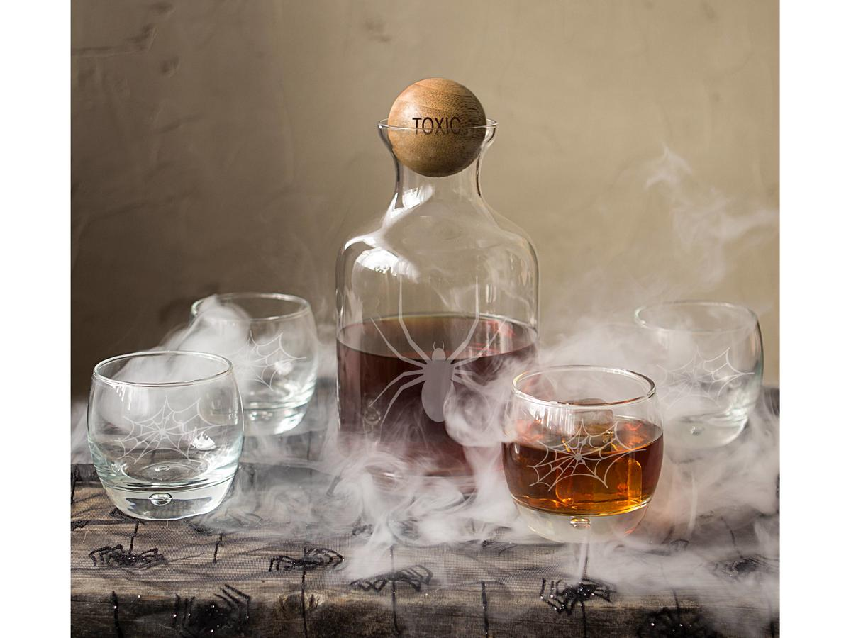1708w- Spider Decanter and Tumblers 2