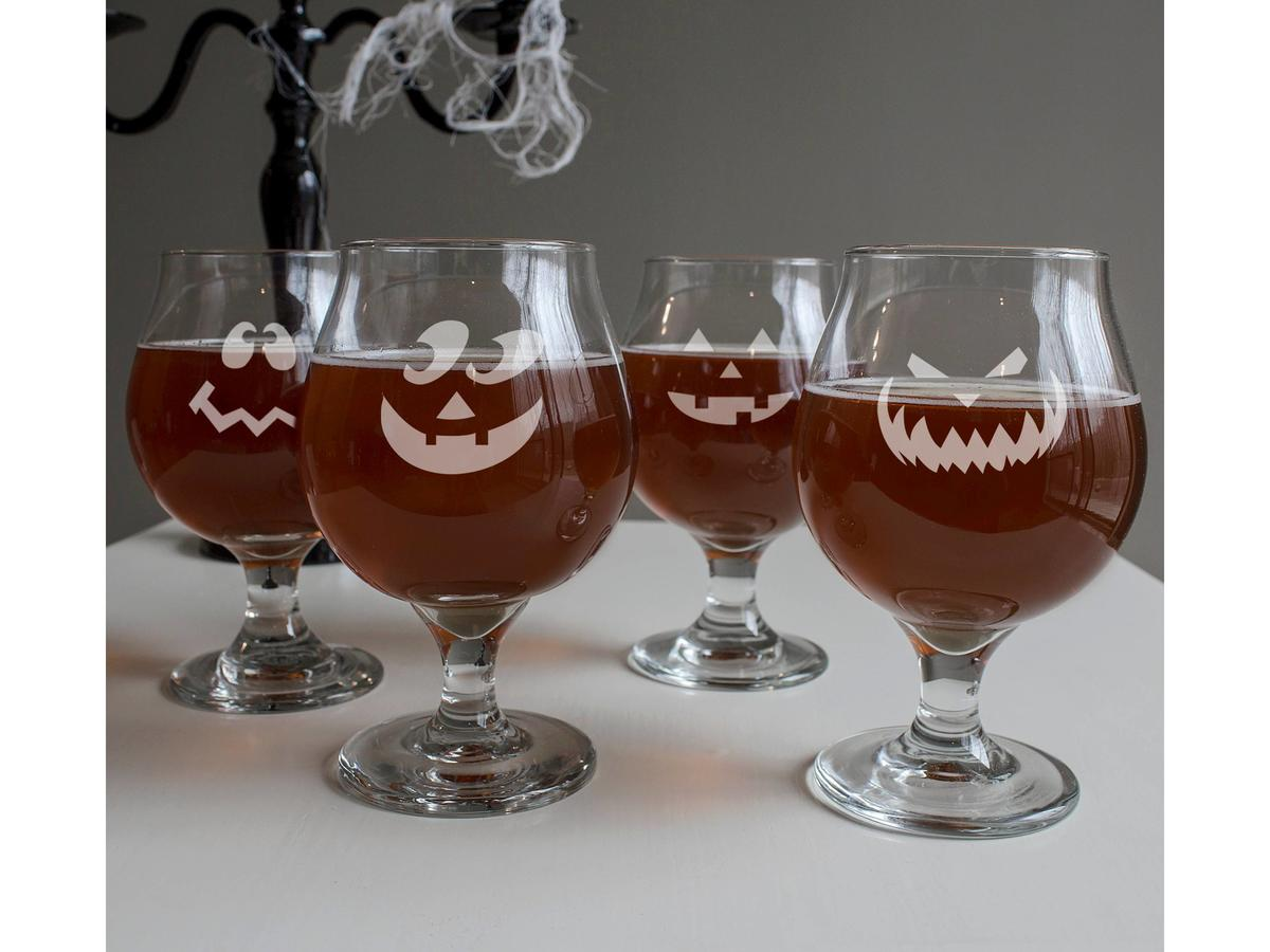 1708w- Halloween Belgian Beer Glasses 4 ct