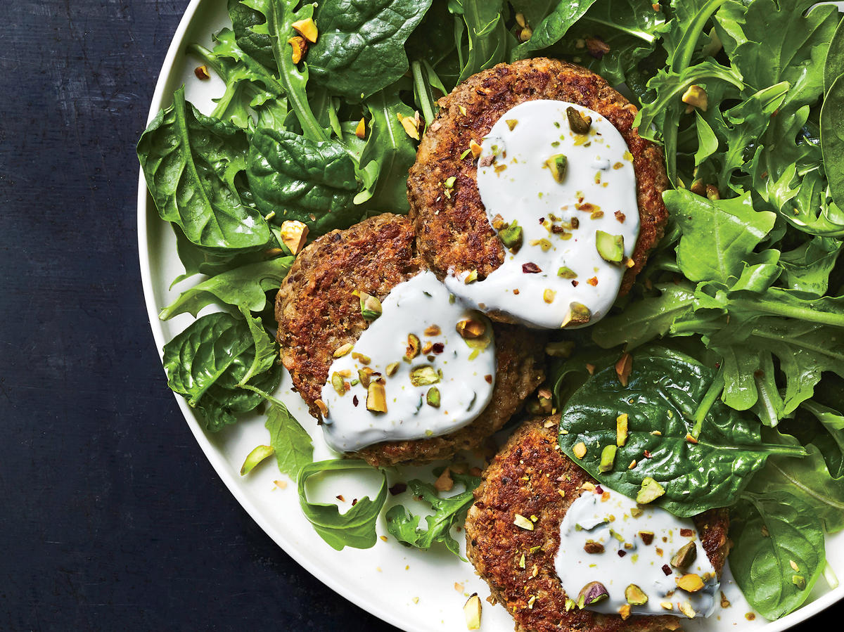 Wednesday: Lentil Cakes with Mint Yogurt