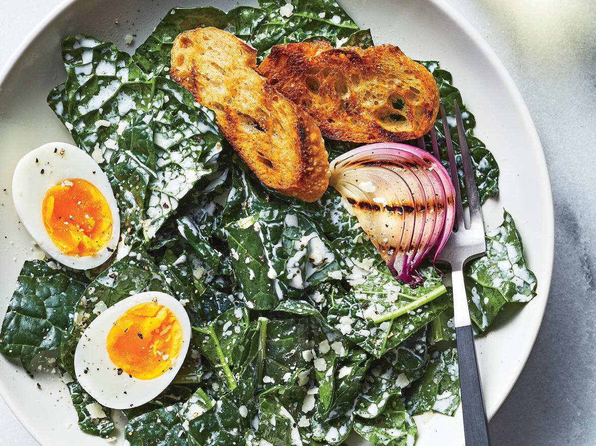 Creamy Kale Caesar Salad with Soft-Boiled Eggs