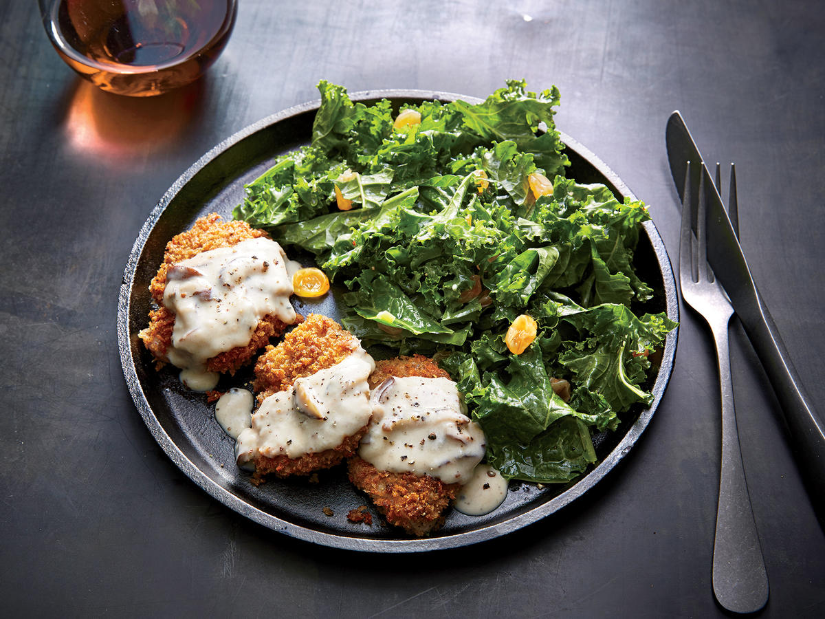 Pork Milanese with Kale Salad
