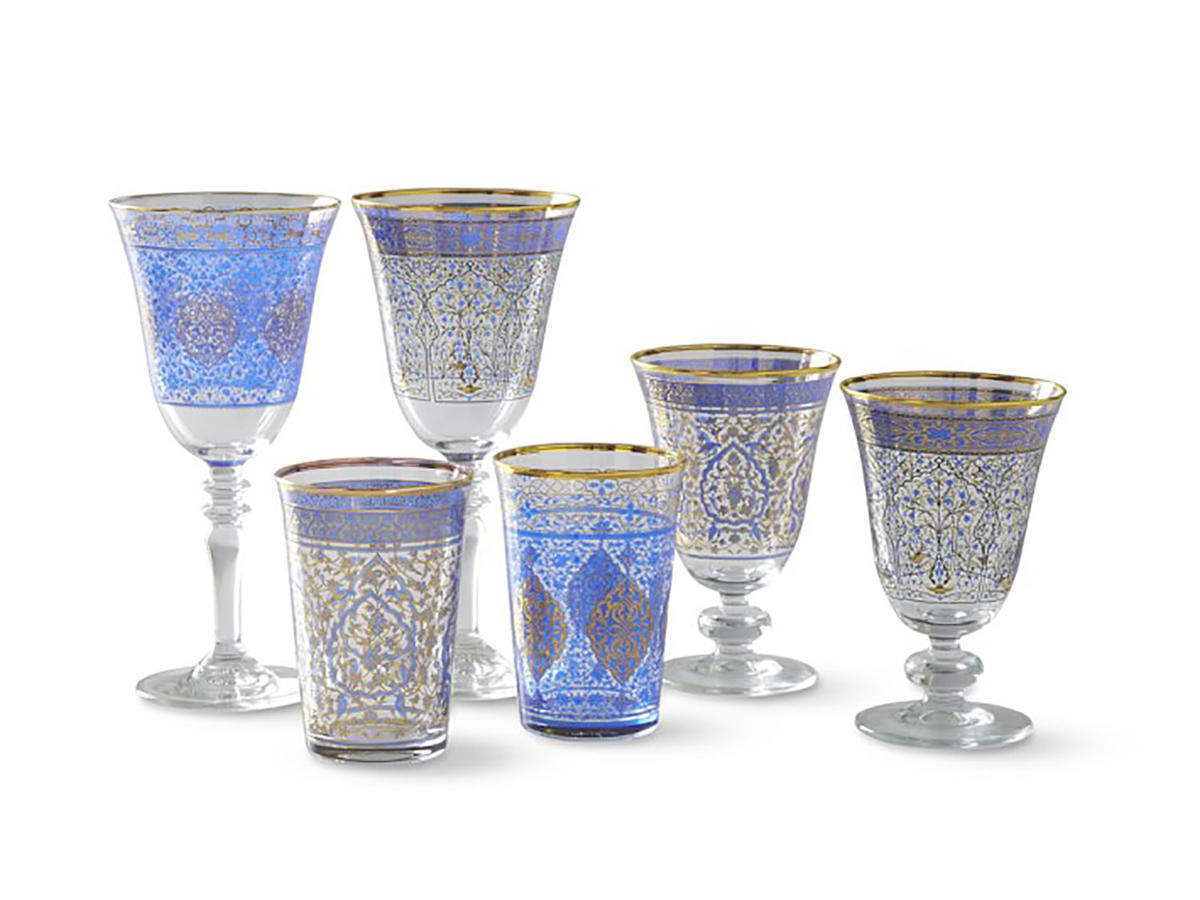 Blue Mosaic Glassware Collection